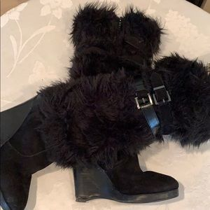 Colin Stuart furry knee length black boot